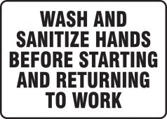 hand wash - Safety Signs: Wash And Sanitize Hands Before Starting And Returning To Work