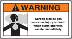 - ANSI Warning Safety Sign: Carbon Dioxide Gas Can Cause Injury Or Death - When Alarm Operates Vacate Immediately