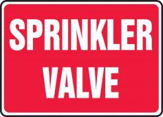 - Safety Sign: Sprinkler Valve (Red Background)