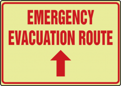 - Glow-In-The-Dark Safety Sign: Emergency Evacuation Route (Up Arrow)