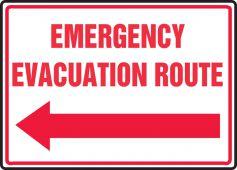 evacuation - Safety Sign: Emergency Evacuation Route (Left Arrow)