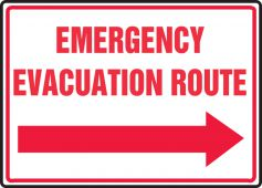 evacuation - Safety Sign: Emergency Evacuation Route (Right Arrow)