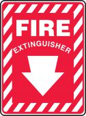 - Safety Sign: Fire Extinguisher (Down Arrow White)