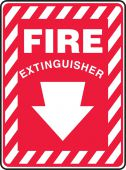 - Contractor Preferred Safety Sign: Fire Extinguisher (Down Arrow White)