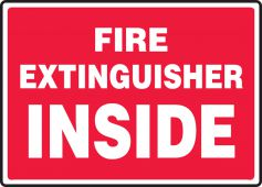 - Safety Sign: Fire Extinguisher Inside (Red Background)