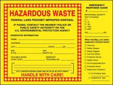 - Hazardous Waste Label: Hazardous Waste (Emergency Response Guide)