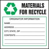 - Safety Label: Materials For Recycle