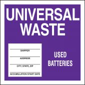 - Drum & Container Labels: Universal Waste - Used Batteries