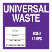 - Drum & Container Labels: Universal Waste - Used Lamps