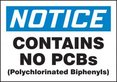 - OSHA Notice PCB Label: Contains No PCBs
