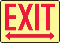 - Glow-In-The-Dark Safety Sign: Exit (Arrow Right and Left)
