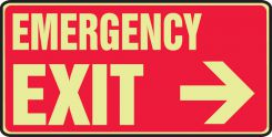 - Glow-In-The-Dark Safety Sign: Emergency Exit (Right Arrow 7
