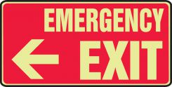 - Glow-In-The-Dark Safety Sign: Emergency Exit (Left Arrow 7