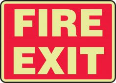 - Glow-In-The-Dark Safety Sign: Fire Exit (Red Background)