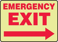 - Glow-In-The-Dark Safety Sign: Emergency Exit (Right Arrow)