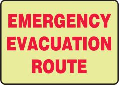 evacuation - Glow-In-The-Dark Safety Sign: Emergency Evacuation Route