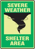 - Glow-In-The-Dark Safety Sign: Severe Weather Shelter Area