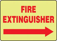 - Glow-In-The-Dark Safety Sign: Fire Extinguisher (Right Arrow)