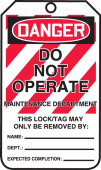 - OSHA Danger Lockout Tag: Do Not Operate - Maintenance Department