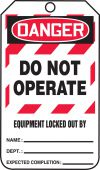 - OSHA Danger Lockout Tag: Do Not Operate - Equipment Locked Out By