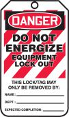 - OSHA Danger Lockout Tag: Do Not Energize - Equipment Lock Out
