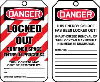- OSHA Danger Safety Tag: Locked Out - Confined Space Entry In Progress