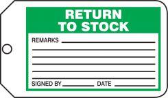 - Safety Tag: Return To Stock