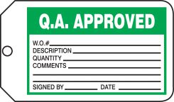 - Safety Tag: Q.A. Approved