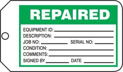 - Safety Tag: Repaired