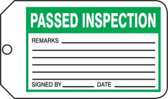 - Safety Tag: Passed Inspection