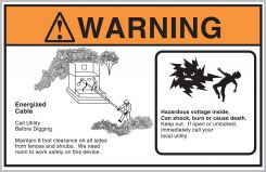 - ANSI Warning Safety Label: Energized Cable - Call Utility Before Digging (Mr. Ouch)