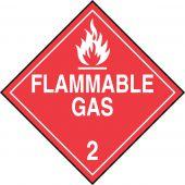 - DOT Placard: Hazard Class 2 - Gases (Flammable Gas)