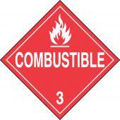 - DOT Placard: Hazard Class 3 - Flammable Liquids (Combustible)