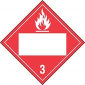 - Blank DOT Placard: Hazard Class 3 - Flammable Liquid