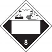 - Blank DOT Placard: Hazard Class 8 - Corrosive