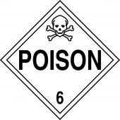 - DOT Placard: Hazard Class 6 - Poison