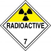 - DOT Placard: Hazard Class 7 - Radioactive