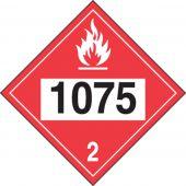 - 4-Digit DOT Placards: Hazard Class 2 - 1075 (Liquefied Petroleum Gas)