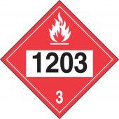 - 4-Digit DOT Placards: Hazard Class 3 - 1203 (Gasoline)