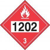 - 4-Digit DOT Placards: Hazard Class 3 - 1202 (Diesel Fuel)