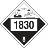 - 4-Digit DOT Placards: Hazard Class 8 - 1830 (Sulfuric Acid)