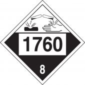 - 4-Digit DOT Placard: Hazard Class 8 - 1760 (Corrosive Liquid)