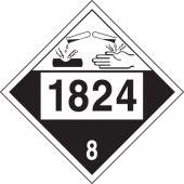 - 4-Digit DOT Placard: Hazard Class 8 - 1824 (Sodium Hydroxide Solution)