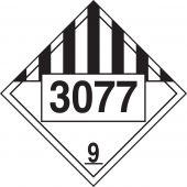 - 4-Digit DOT Placards: Hazard Class 9 - 3077 (Environmental Hazard-Solid)