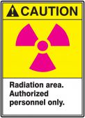 - ANSI Caution Safety Sign: Radiation Area. Authorized Personnel Only.