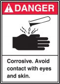 - ANSI Danger Safety Sign: Corrosive - Avoid Contact With Eyes And Skin.