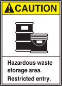 - ANSI Caution Safety Sign: Hazardous Waste Storage Area - Restricted Entry