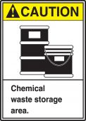 - ANSI Caution Safety Sign: Chemical Waste Storage Area