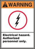 - ANSI Warning Safety Label: Electrical Hazard - Authorized Personnel Only