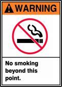 - ANSI Warning Safety Sign: No Smoking Beyond This Point